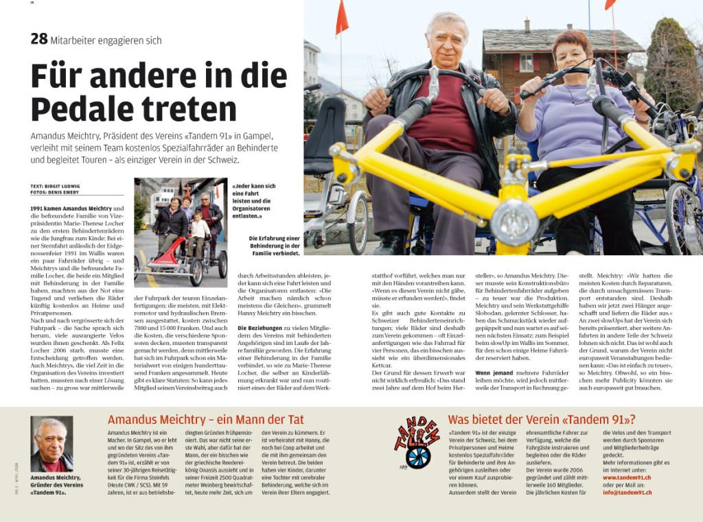 Für das Personalmagazin von Coop Basel, Coop Forte, ein Beitrag über einen Mitarbeiter, der ehrenamtlich Behindertenfahrzeuge verleiht